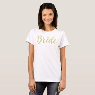 Camiseta Brilho do ouro do falso do Tshirt da noiva,