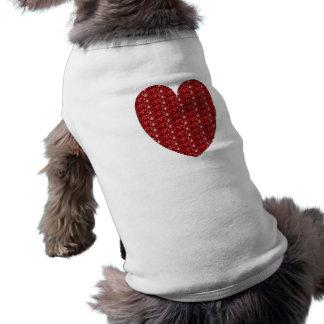 Camiseta Brilho vermelho do coração da roupa do cão