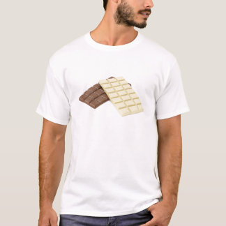 Camiseta Brown e bares de chocolate brancos