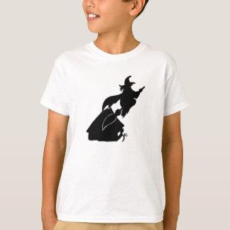 Camiseta Bruxa do vôo sobre a silhueta da casa