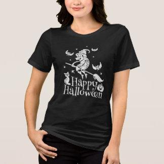 Camiseta Bruxa feliz do vôo do Dia das Bruxas