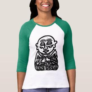 "Camiseta ""Buddha Pray"" 3/4 de t-shirt do Raglan da luva"