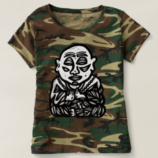 "Camiseta ""Buddha Pray"" o t-shirt da camuflagem das mulheres"