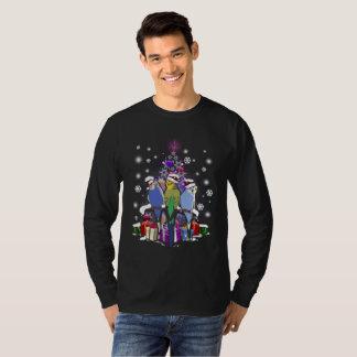 Camiseta Budgerigars com presente e flocos de neve do Natal