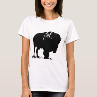 Camiseta Búfalo preto & branco do bisonte do pop art