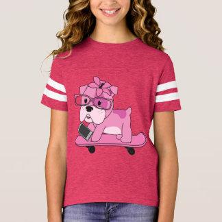 Camiseta Buldogue cor-de-rosa do hipster
