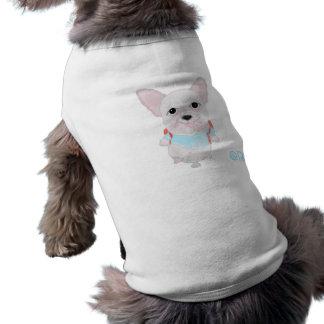 Camiseta Buldogue francês da camisola de alças com nervuras