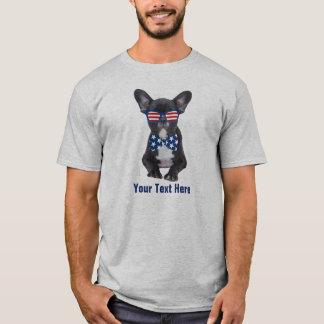 Camiseta Buldogue francês engraçado 4o julho EUA feito sob