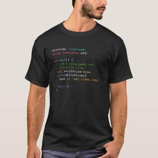 Camiseta C++ O laço infinito come, dorme, e codifica o