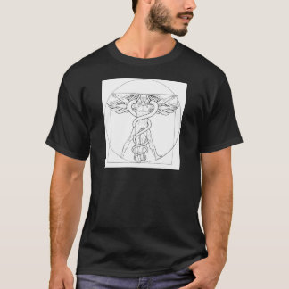 Camiseta Caduceus do homem de Vitruvian