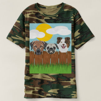 Camiseta Cães afortunados da ilustração em uma cerca de