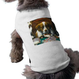 Camiseta Cães que jogam o cachorrinho T do Mah Jongg