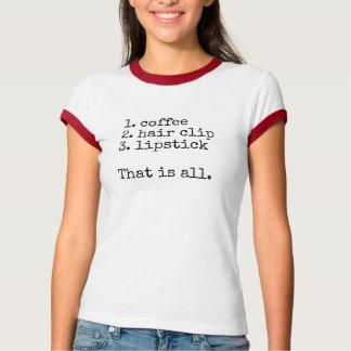 Camiseta Café, grampo de cabelo, batom - o t-shirt das