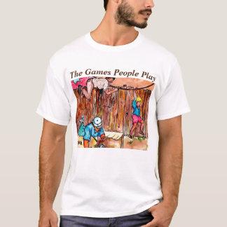 Camiseta Caixas de cartão, cercas e Clotheslines