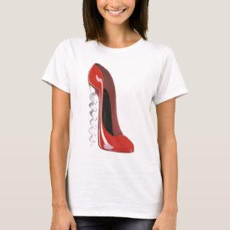 Camiseta Calçados vermelhos do estilete do salto do