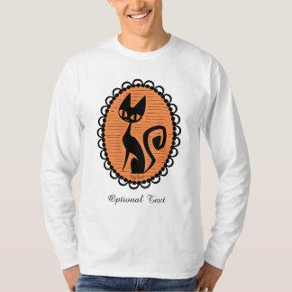 Camiseta Cameo do gato preto do Dia das Bruxas