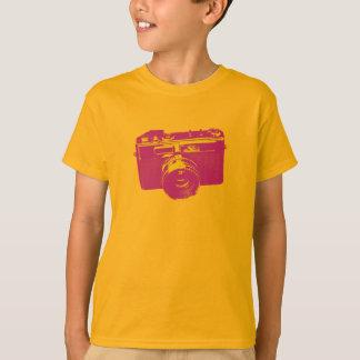Camiseta Câmera alaranjada & vermelha do pop art