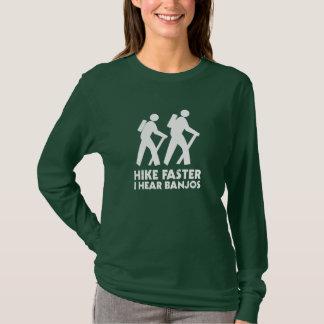 Camiseta Caminhada mais rapidamente eu ouço banjos