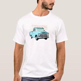 Camiseta Caminhão clássico no azul, semi recolhimento muito