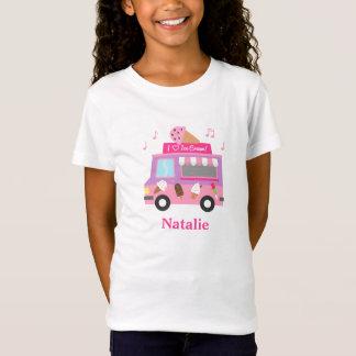 Camiseta Caminhão cor-de-rosa roxo doce do sorvete para
