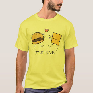 "Camiseta ""Camisa do amor verdadeiro"" do Hamburger e do"
