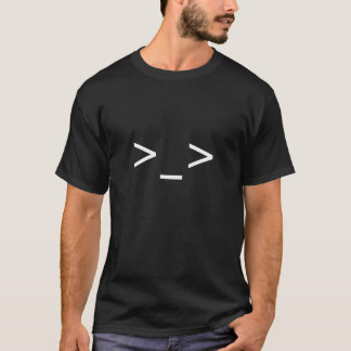 Camiseta >Camisa do Emoticon do _> (preto)