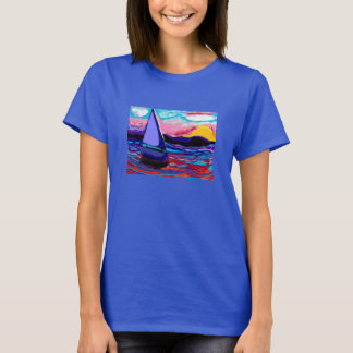 Camiseta camisa, por do sol do tshirt da tranquilidade do