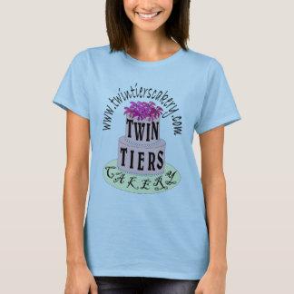 Camiseta Camisa-Womens gêmeo do logotipo de Cakery das