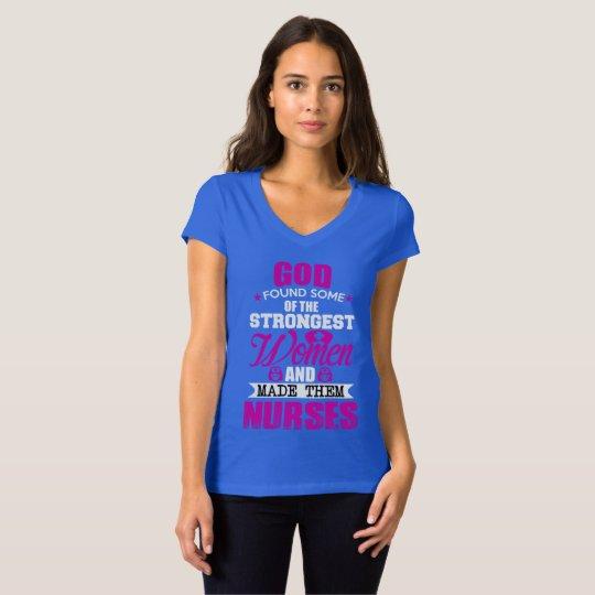 Camiseta CamisetaJersey Gola V God Created Nurses Women