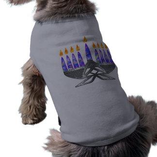 Camiseta Camisetas de cão de Menorah do metal