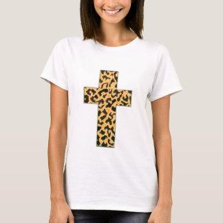 Camiseta Camisola de alças da cruz da pele do leopardo