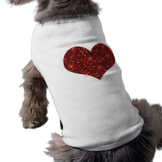 Camiseta Camisola de alças vermelha do coração do cão