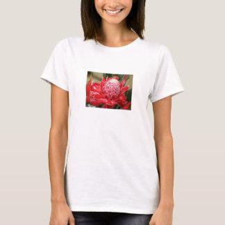 Camiseta Camisola de alças vermelha exótica da flor do