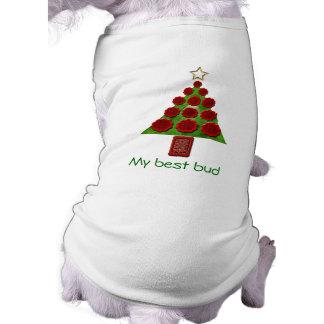 Camiseta Camisola do cão - árvore de Natal da flor