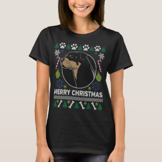 Camiseta Camisola feia do Natal da raça do cão de