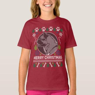 Camiseta Camisola feia do Natal da raça do cão de Akita