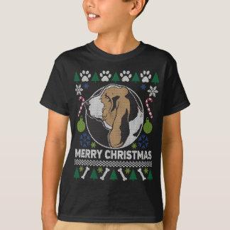 Camiseta Camisola feia do Natal da raça do cão de Basset