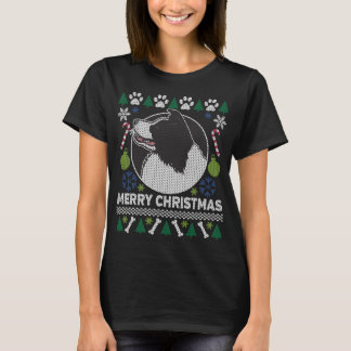Camiseta Camisola feia do Natal da raça do cão de border