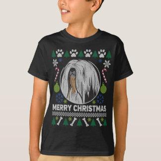 Camiseta Camisola feia do Natal da raça do cão de Lhasa