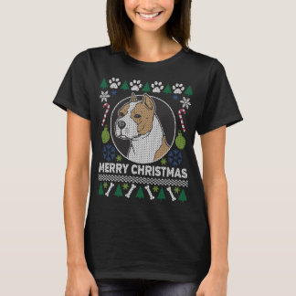 Camiseta Camisola feia do Natal da raça do cão de Stafford
