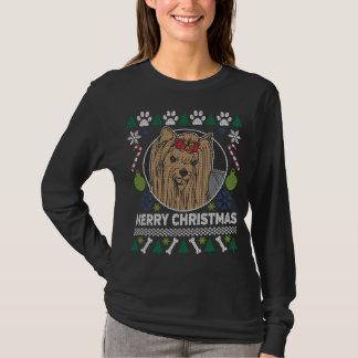 Camiseta Camisola feia do Natal da raça do cão de Yorkie