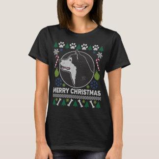 Camiseta Camisola feia do Natal da raça do cão do Malamute