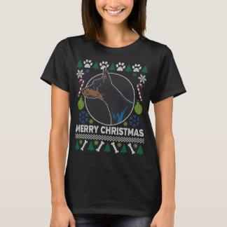 Camiseta Camisola feia do Natal da raça do cão do Pinscher