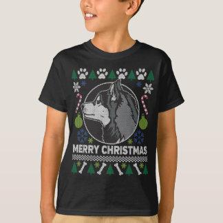 Camiseta Camisola feia do Natal da raça do cão do rouco
