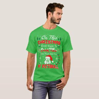 Camiseta Camisola feia do Natal de Pitbull do animal de
