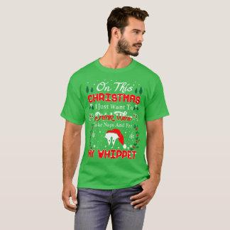 Camiseta Camisola feia do Natal de Whippet do animal de