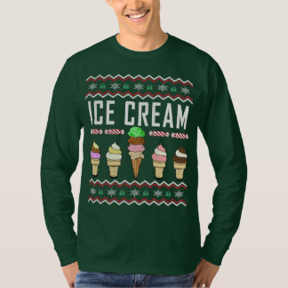 Camiseta Camisola feia do Natal do sorvete