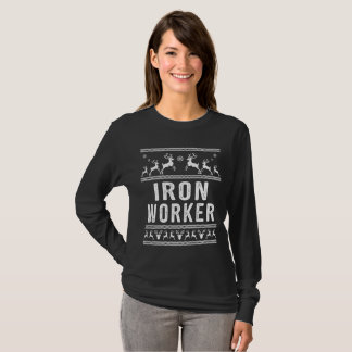 Camiseta Camisola feia do Natal do trabalhador do ferro