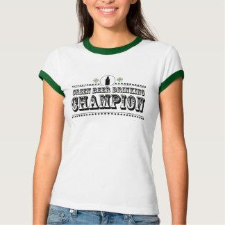Camiseta Campeão verde do bebendo da cerveja