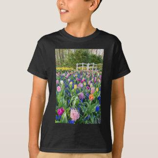 Camiseta Campo de flores com jacintos e ponte das tulipas
